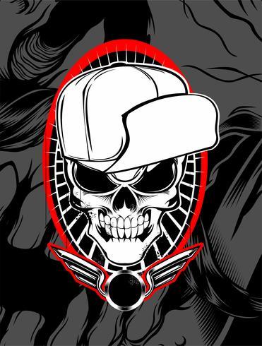 skull wearing hat vector
