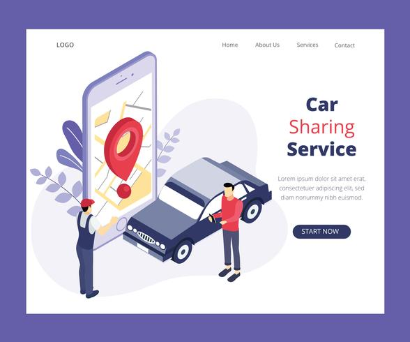 Isometric Artwork Concept of Car Sharing Service