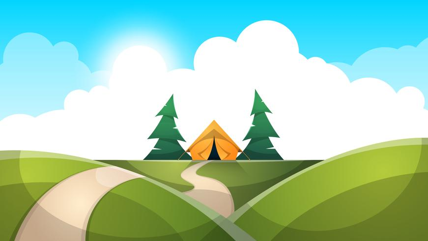 Cartoon landschap. Tent, zon, spar, wolk, wegillustratie.