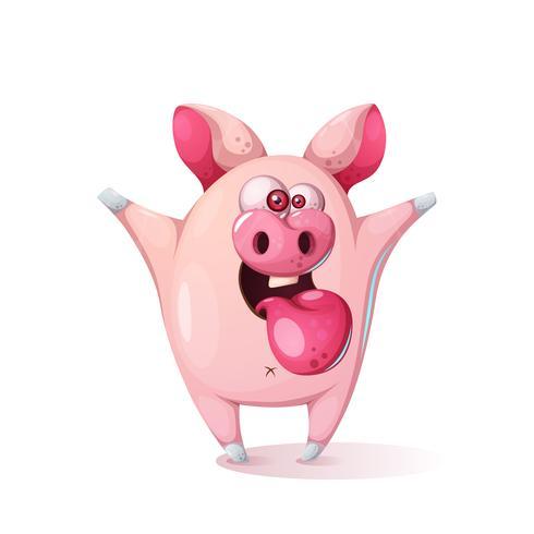 Personaggio dei cartoni animati di maiale con la lampadina u video