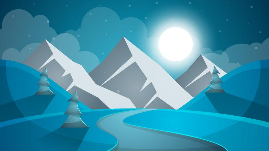 Paisaje de nieve de dibujos animados. Sol, nieve, abeto, ilustración mountine. V vector
