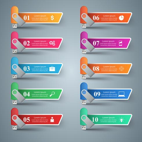 Flash usb - infografía de negocios. vector