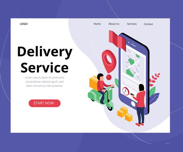 Conceito de arte isométrica do serviço de entrega on-line