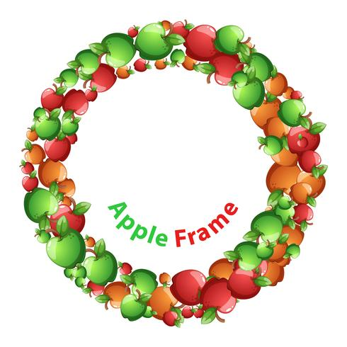 Circle frame, red, yellow, green apple cartoon. Vector eps10.