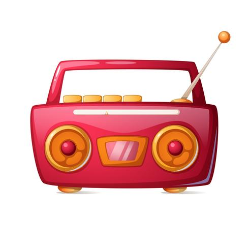 Rádio vermelho dos desenhos animados. Ícone da música.