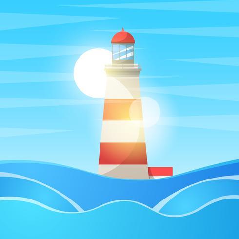 Fyr, havet - tecknad landskap.