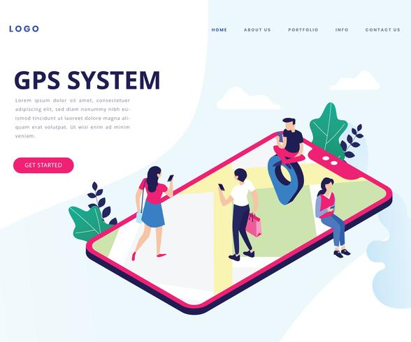 Isometric Artwork Concept of GPS System vector