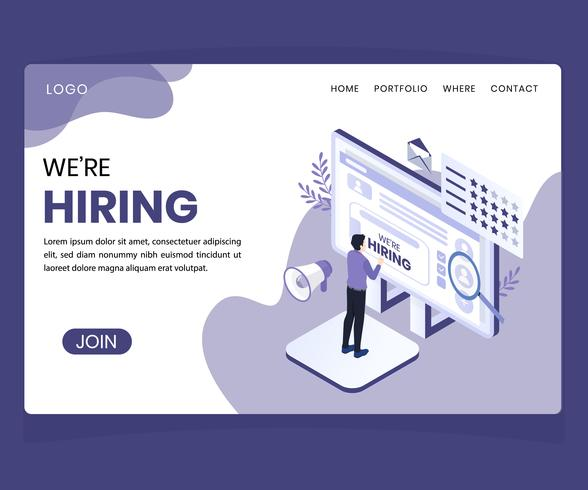Isometric Artwork Concept of Hiring Concept vector