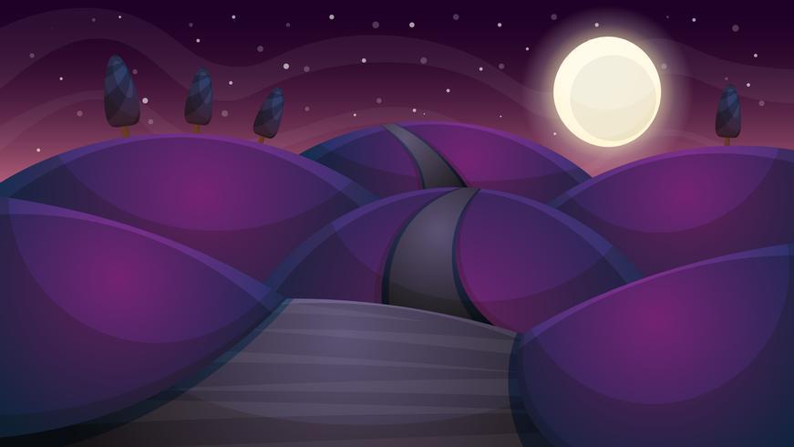 Paisaje de dibujos animados de noche de viaje. Abeto, cometa, estrella, luna, camino enfermo