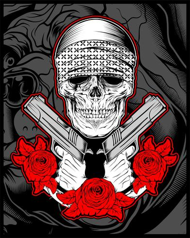 skull mafia,gengster wearing bandana with gun an roses vector