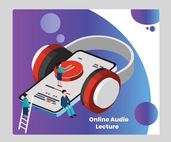 Isometric Artwork Concept of Online Audio Lecture