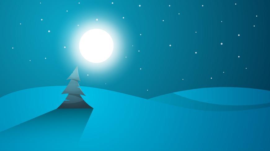 Paisaje de dibujos animados de noche de viaje. Árbol, montaña, cometa, estrella, moo