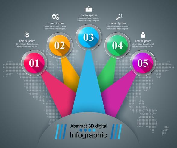 Resumen ilustración digital 3d infografía.