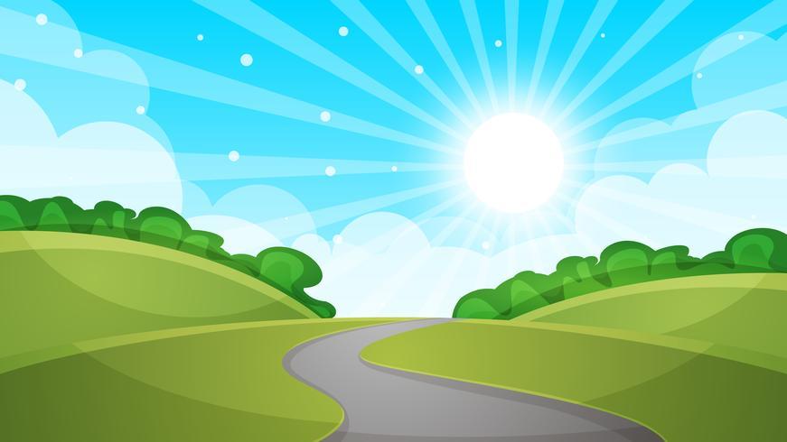 Ilustração da estrada da paisagem dos desenhos animados.
