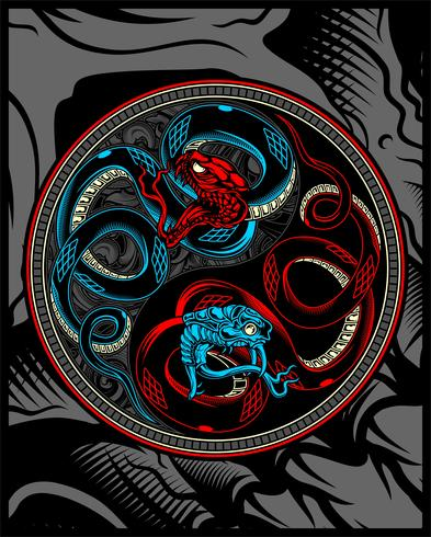 twin snake, snake ying yang vector hand tekenen