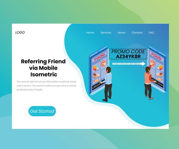 Isometric Artwork Concept of Referring friend vector