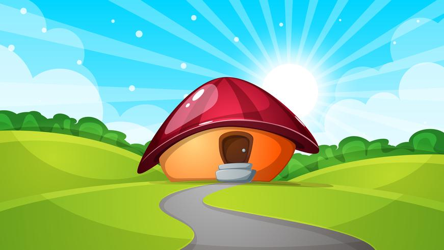 cartoon landscape with mushroom house. Sun, cloud, road - illustration.