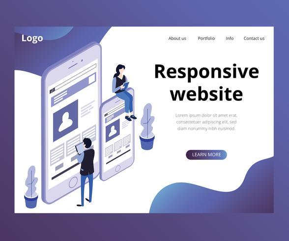 Isometric Artwork Concept of Responsive Website
