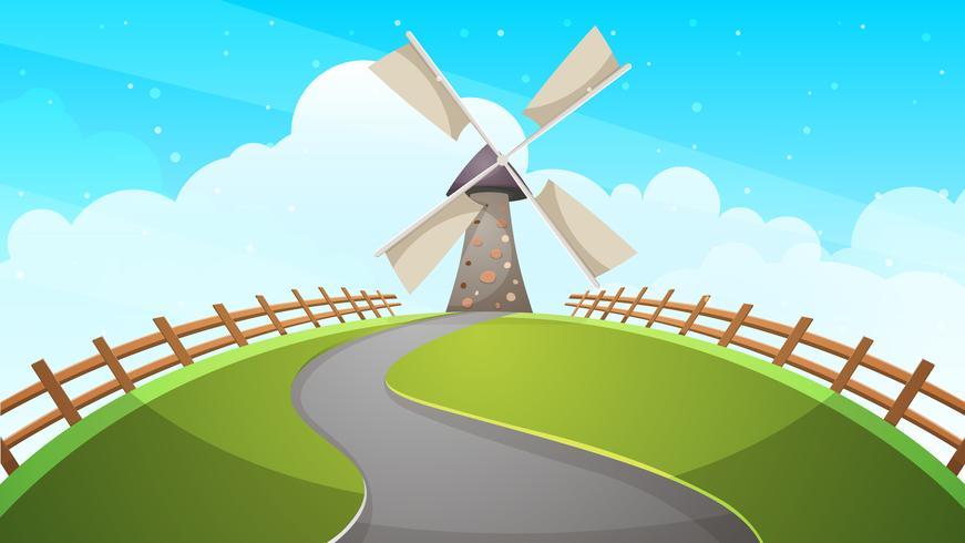 Moinho, cerca, estrada - ilustração dos desenhos animados.