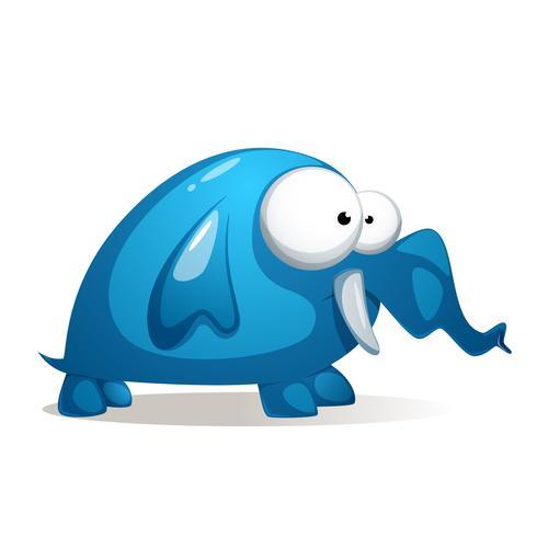 Tecknad film rolig, söt blå elefant.
