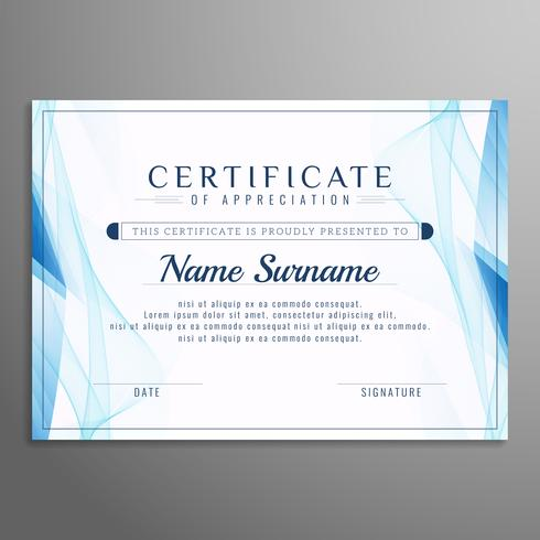 Abstract blue wavy certificate template design vector