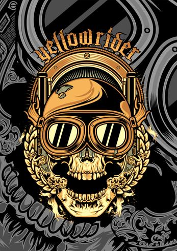 skull wearing a helmet and a google cross.vector hand drawing vector