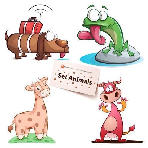 Hund, Frosch, Giraffe, Kuhset Tiere.