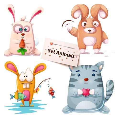 Kanin, fisk, katt - uppsatta djur.