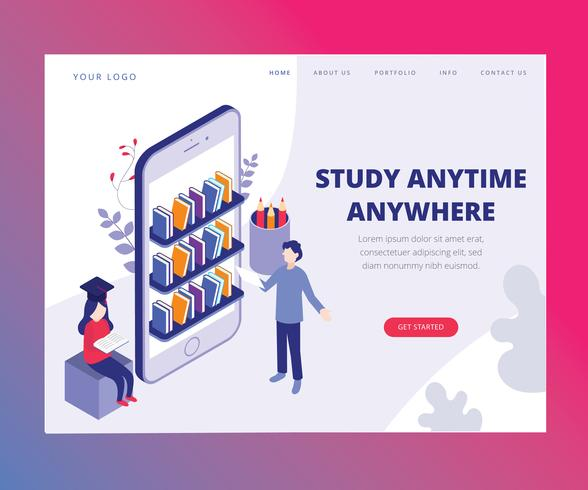 Isometric Artwork Concept of Study Anytime Anywhere vector