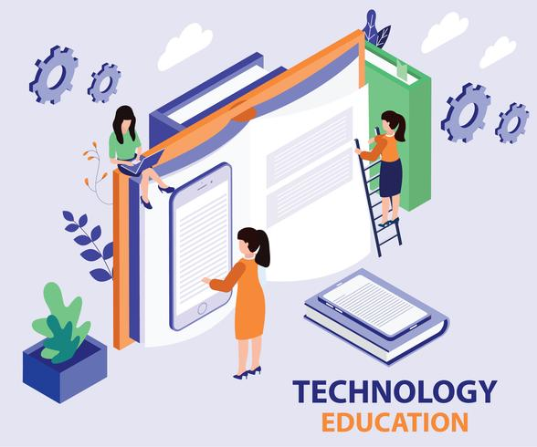 Isometric Artwork Concept of Technology Education vector