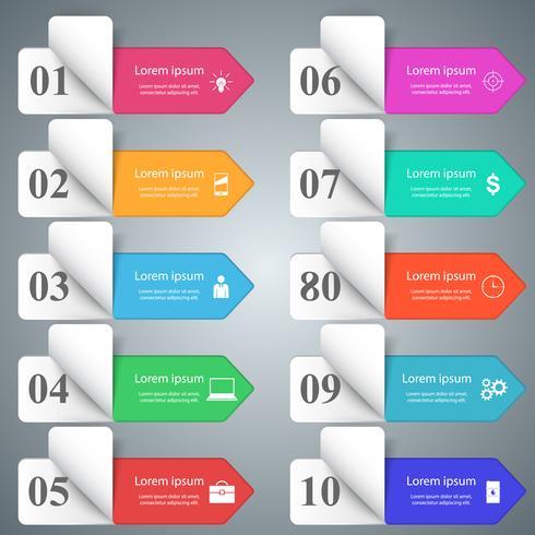 Conception infographique. Liste de 10 articles.