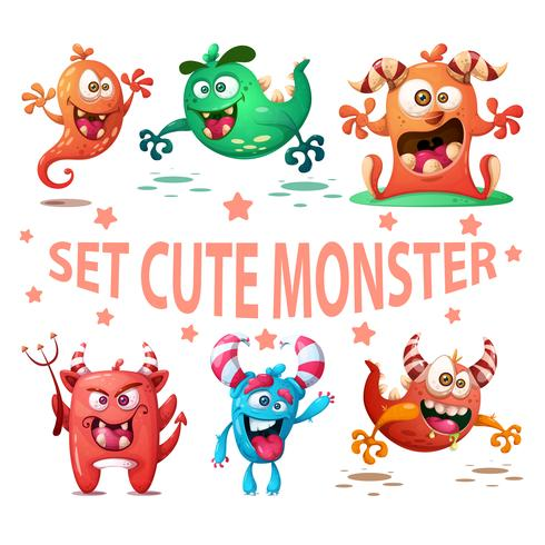 Set cute monster illustration. Funny characters vector