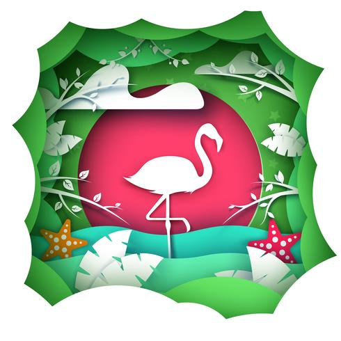 Karikaturpapierlandschaft. Flamingo-Zeichen.