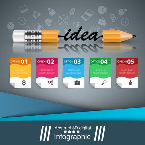Matita, educazione, icona di idea. Infografica di affari