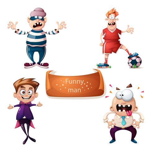 Cartoon set characters thief, football, soccer, boy and office man