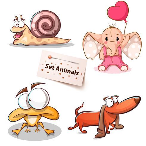 Lumaca, elefante, rana, animali domestici vettore