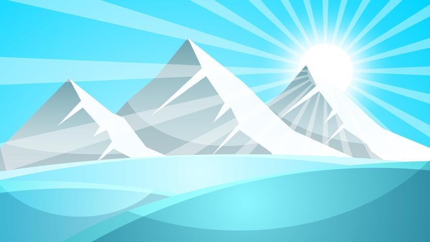 Paisaje de nieve de dibujos animados. Sol, nieve, abeto ilustración. Vector eps