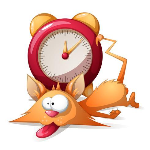 Cartoon sleep funny, cute cat and alarm clock. Vector eps10