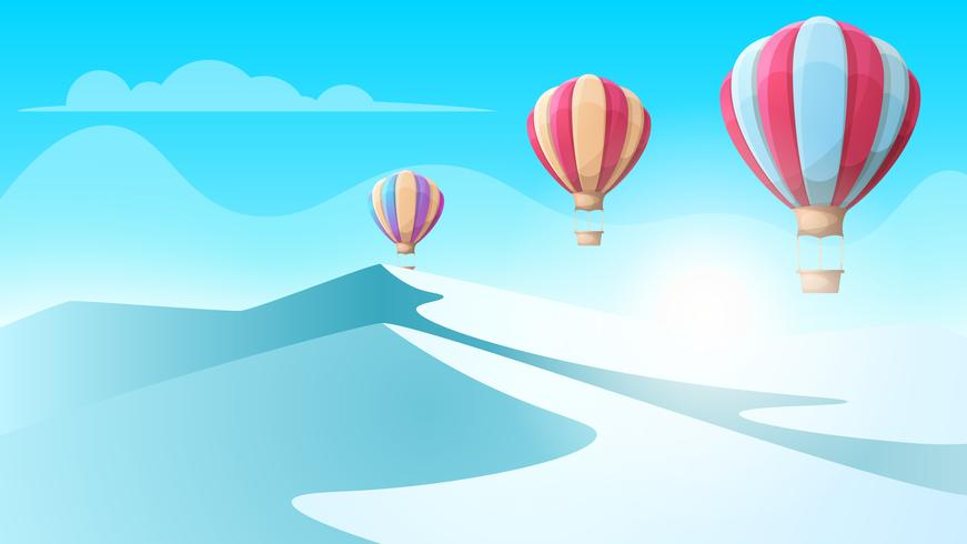 Cartoon ice landscape. Air Balloon illustration.