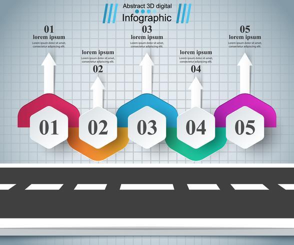 Infographic Designvorlage der Straße und Marketing-Ikonen.