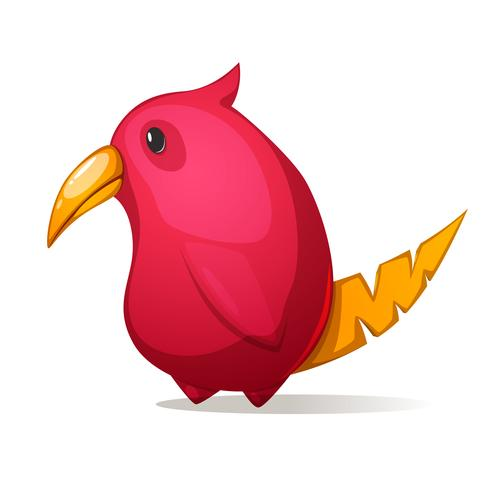 Cartone animato buffo, uccello carino con un grande becco.