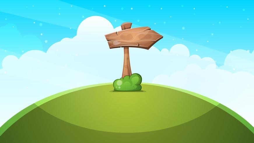 Paysage de dessin animé de flèches de bois.