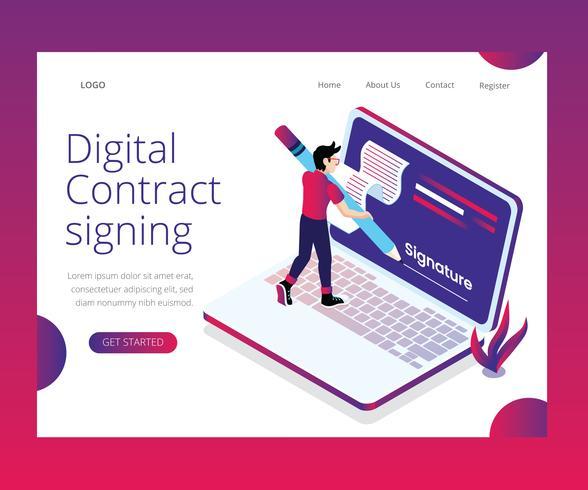 Conceito de arte isométrica de assinatura de contrato digital vetor