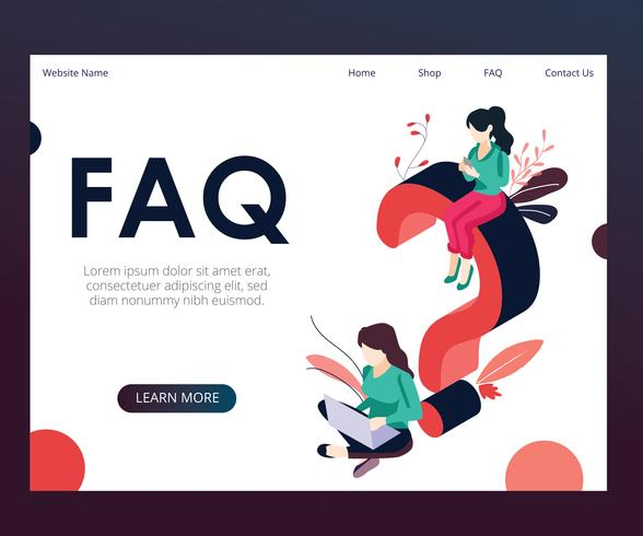 FAQ Isometric Artwork Concept vector