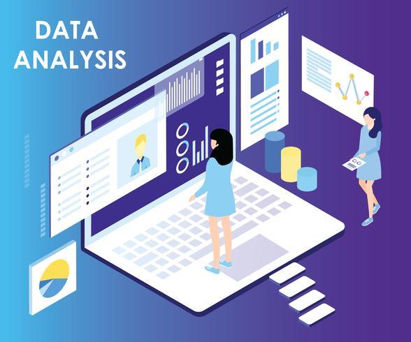 Datenanalyse-isometrisches Grafik-Konzept