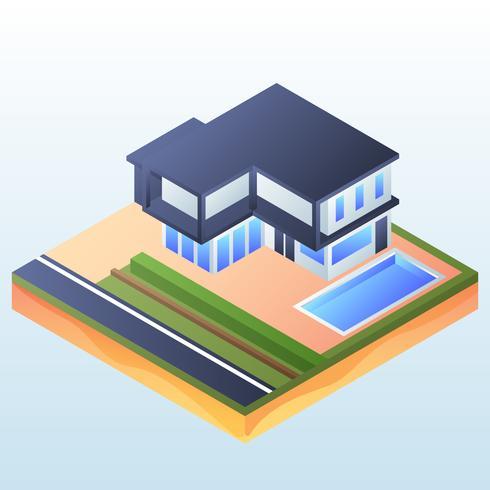 Isometrisch huis met zwembad