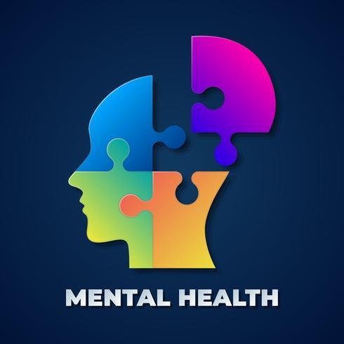 Mann-Silhouette Puzzle für Tag der psychischen Gesundheit
