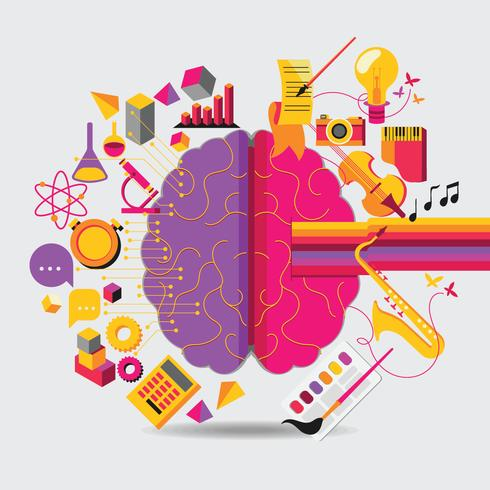 Brain Left Analytical and Right Creative Hemispheres Concept vector