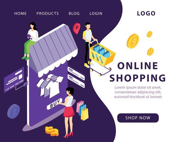 Concepto isométrico de las ilustraciones de las compras en línea