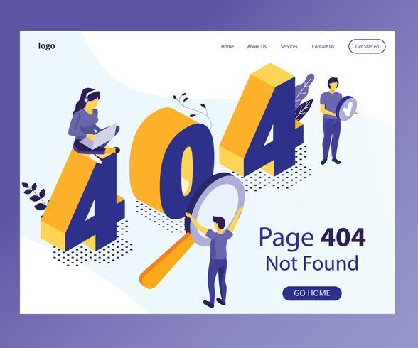 Concepto isométrico de las ilustraciones de 404 páginas